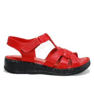 Ersöz CES427 Hakiki Deri Kırmızı Sandalet